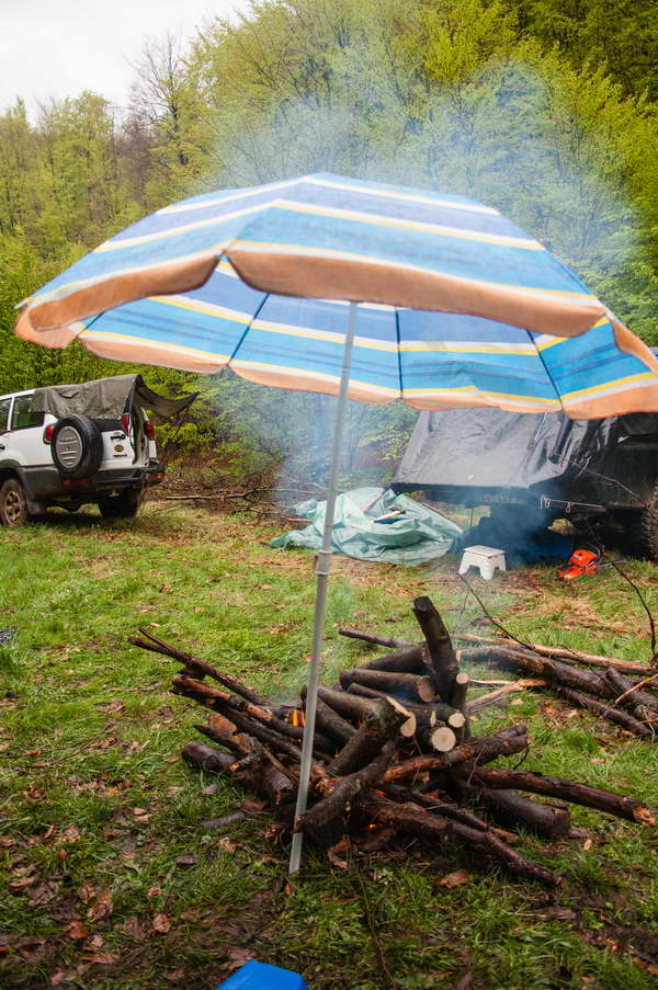 Protecting the fire from rain