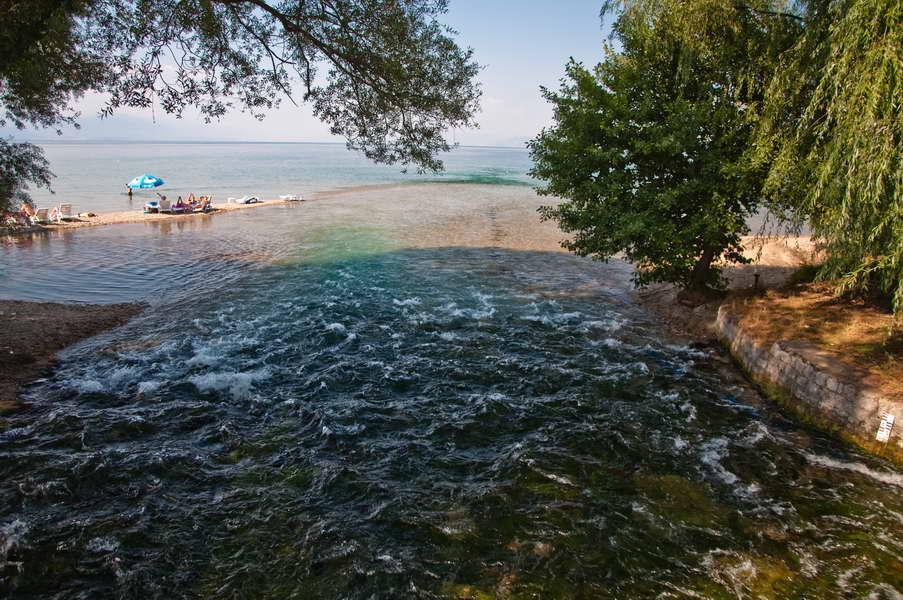 Drim se velikom silinom uliva u Ohridsko jezero