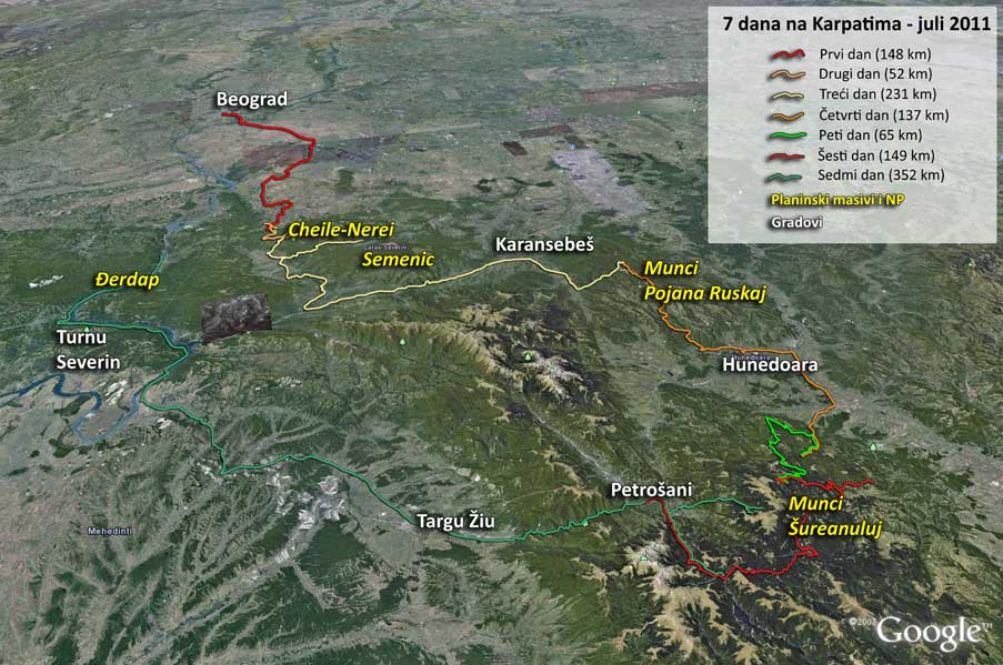 Mapa ture po Karpatima leta 2011.