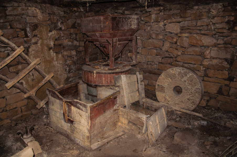 Inside an old watermill