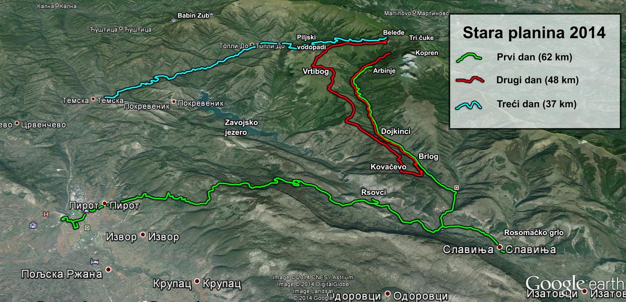 Mapa kretanja tokom tri dana